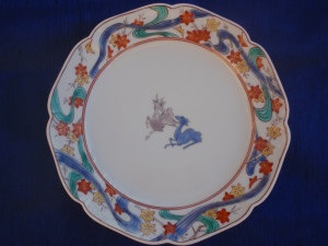 Deer and Japanese Maple Leaves On a Kakiemon Plate
