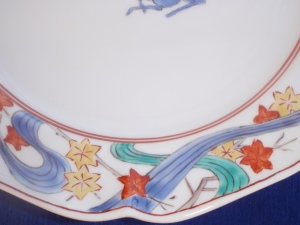 Japanese Maple Leaves on A Kakiemon Plate