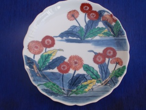 Front View of a Nabeshima Plate with a Japanese Painting Style, Imari Plate