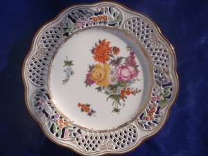 Front of view of my Dresden plate #7, #8 with a European style painting