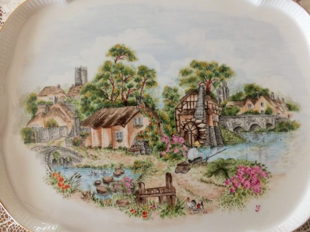 Landscape, European style, porcelain painting, one fire techniques