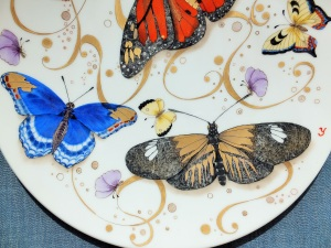 European Style, Butterfly painting, Porcelain painting
