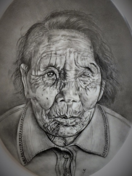 Japanese elderly woman's wrinkled face, American style, Portrait on porcelain