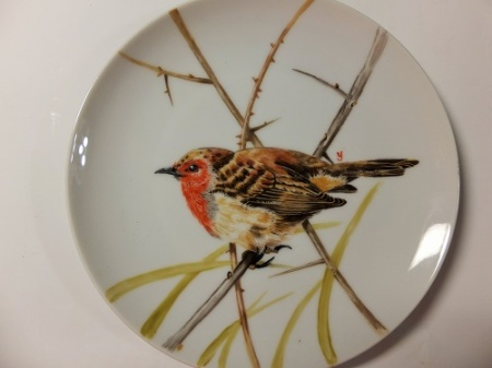 Bird painting on porcelain, European style, One fire,
