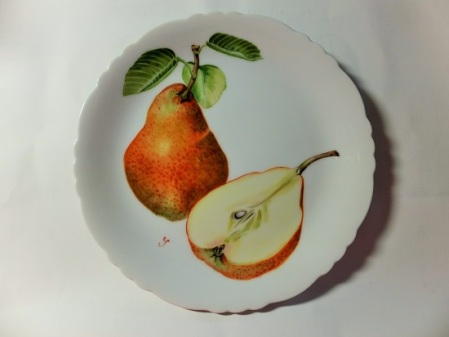 Pear Painting on Porcelain, Fruit painting