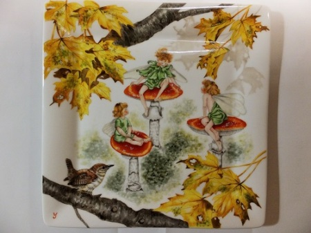 Autumn painting, porcelain painting, fairly painting, mushroom painting