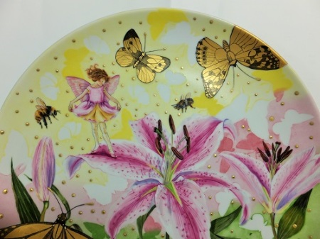 Butterfly painting on porcelain, fairly painting on porcelain, fantasy painting on porcelain