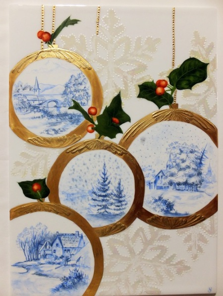 Christmas plate, European style, Christmas ornaments on porcelain