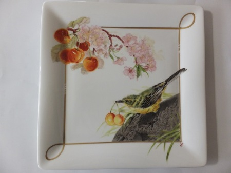bird painting on porcelain, europian style, cherry blossoms, cherry, porcelain painting