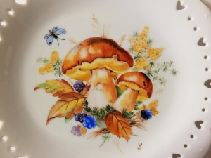 mushroom on porcelain, European style,