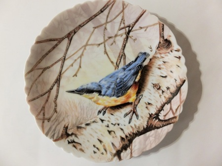 hand painted blue bird on porcelain, hand painted bird painting, porcelain bird painting, blue bird, europian style of painting