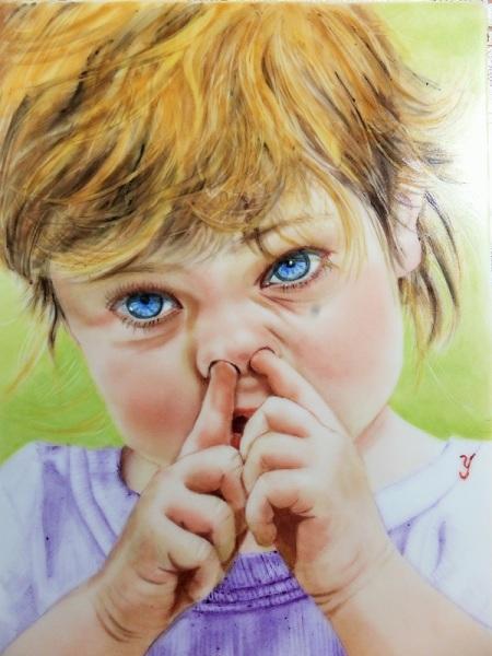 Portrait painting, Portrait painting on porcelain, kid's portrait,
